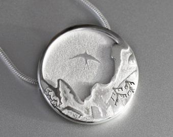 Frosty Peaks Mountain Bird Pendant, Silver Pendant, Silver Jewellery, Silver Jewelry.