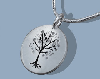 Cherry Tree Pendant, Silver Jewelry, Silver Pendant, Tree Pendant, Silver Jewellery