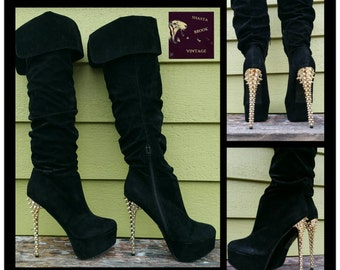 SALE. WERE 79. Size 10 Black Velvet Platform Thigh High Boots - Gold Spike Stiletto Heel - Platform Stiletto Boots Thigh Highs - Lady Gaga