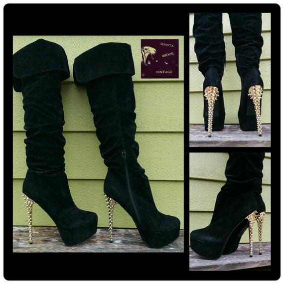 sale were 79 size 10 black velvet platform thigh high boots