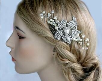 Bridal Comb- Wedding jewelry, hair accessories, Crystal Comb, Bridal Comb, Hair Flower, Hair Brooch, Tiara, Crown, Spray