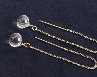 SALE--Long dangle earrings with crystal quartz, sterling silver, 14K gold filled. April birthstone earrings. E044.