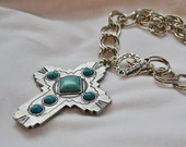Silver & Turquoise Cross Pendent with Cabochons, Chunky Silver Chain