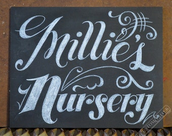 Custom Personalized Nursery Sign - Hand drawn Nursery Sign - Baby's Room Chalkboard Sign