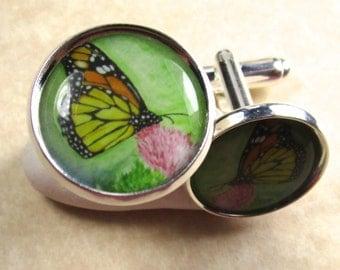 Monarch Butterfly on Thistle Cufflinks