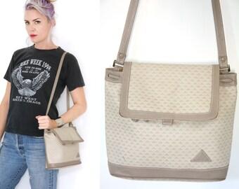 Vintage 80s Liz Claiborne Bag Beige Clay Drawstring Flap Shoulder Bag