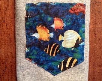 Tropical Fish Pocket Tshirt S/M/L/XL/2x/3x