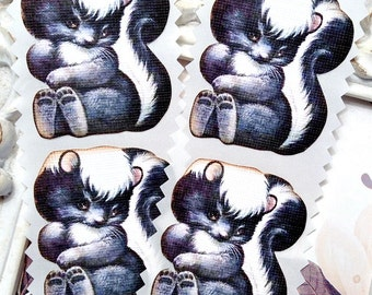 Skunk Stickers (8) - Woodland Stickers-Envelope Seal-Woodland Party-Woodland Baby Shower-Favor Sticker-Woodland Birthday-Animal Party-Forest