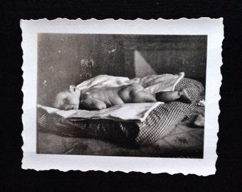 Original Antique Photograph Funny Face Baby