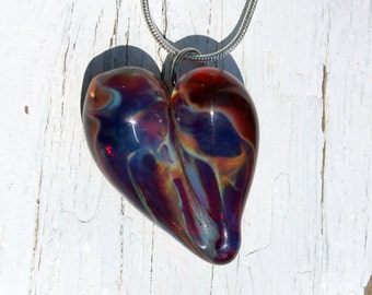 Lampwork Focal Bead Heart Necklace, Hand Blown Boro Glass Jewelry,  Purple n Red