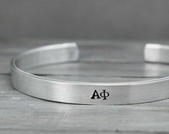 Alpha Phi Cuff, Sorority Jewelry, Sorority Bracelet, Alpha Phi Bracelet, Hand Stamped Cuff, Handstamped Jewelry, Personalized Cuff,