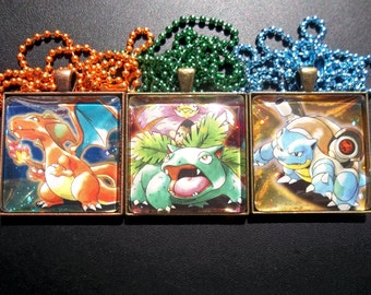 1.5 Inch Glass Charm - Japanese Promo Charizard Venusaur Blastoise - Made from Trading Cards