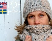 Crochet Hat and scarf Pattern - Wilma's Winter Set - US, UK and Swedish terms - PDF file