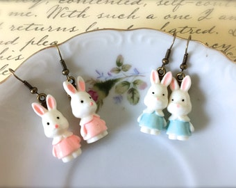 Easter Bunny Dangle Earrings. White Rabbits. Easter Jewelry. Brass Hooks. Under 15 Gifts for Her. Whimsical. Cute. Bunnies. Pastel Bunny.