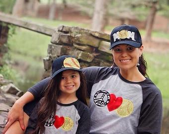 Peace Love Softball - Softball Mom 3/4 sleeve T-Shirt - Sequin Bling Sparkle Baseball Applique - Personalized Embroidered - Custom Team