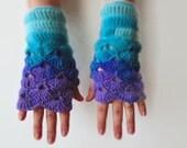 Crochet Mittens Wrist Warmers Handmade Wool Fingerless Gloves Batik Multicolored Turquoise Purple Winter Accessories Women Gift for Her CIJ