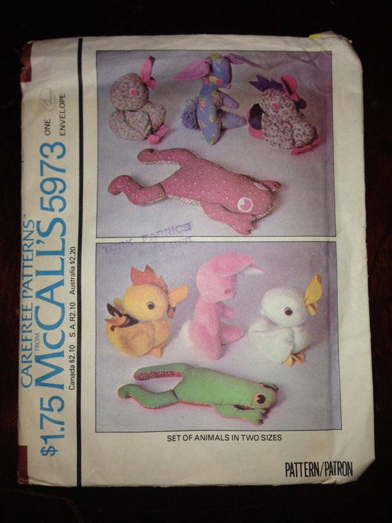 McCalls 70s Crafts Sewing Pattern 5973 Rabbit, Duck, Frog and Rooster Stuffed Animals