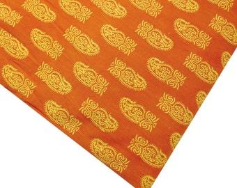 Yellow and Orange Paisley - Soft Cotton Fabric Remnant - Block Printed Cotton Fabric - Orange Paisley Printed Cotton Fabric