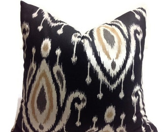 Pillows,   Black Pillow, Decorative throw pillow cover  Printed Fabric on both sides
