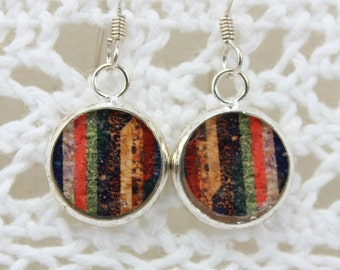 Beautiful Multi Striped Earrings fashioned from a photograph of a quilted wall hanging.