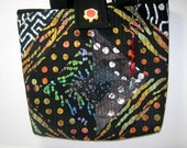 Small Craft Project Quilted Scrappy Black Batik Tote with Orange Lining, Library Book Bag, Market Tote Bag, Knitting Tote, Crochet Tote