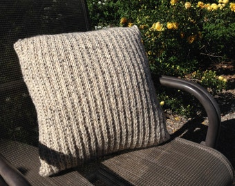 20 x 20 Beige Knit Pillow - Hand Knitted Pillow - Textured 20x20 - Oatmeal