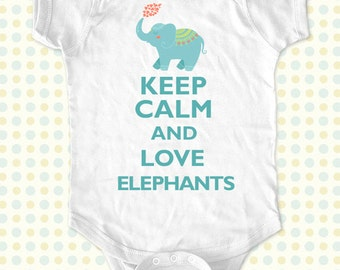 Keep Calm and Love elephants kids one-piece or Shirt - Printed on Baby one-piece, Toddler, Youth shirts