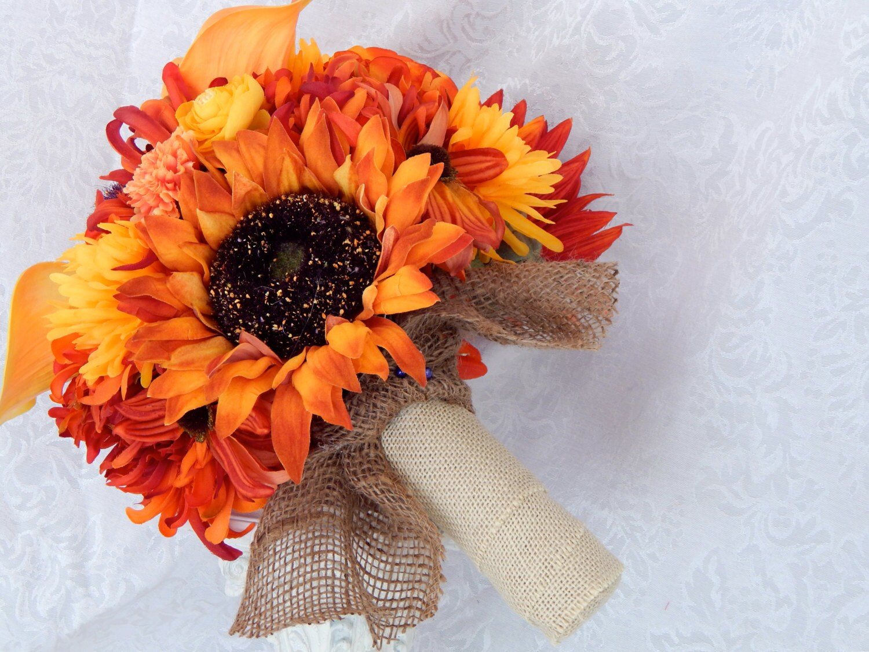 Fall Wedding Bouquet Sunflower Bridal Bouquet Burlap Bridal