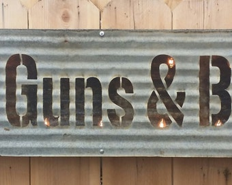 GOD GUNS & BEER Lit Sign Vintage Style Free Shipping