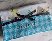 Baby Boy Burp Cloth with Pocket - Set of 2 - Flannel, Terry Cloth - Blue. Orange