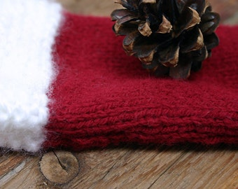 Santa Knit Sleeve- Christmas, Holiday- Red and White- Hand Knitted Pouch- Stocking Stuffer