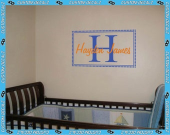 Recctangular Border with Initial and Name Vinyl Wall Decal / Nursery Decal / Kids Room Decal / Bedroom Decal / Name Decal / Home Decor