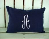 Monogram 12x16 lumbar navy pillow cover-nursery pillow-college gift-accent pillow- decorative pillow cover-gifts under 40-throw pillow