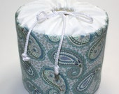 Paisley Pale Blue and Green Toilet Paper Holder