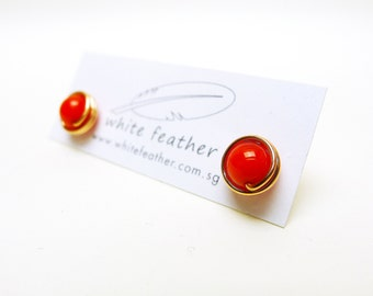Wirewrapped Natural Stone Earstuds / Red Coral with14k Rose Gold-filled