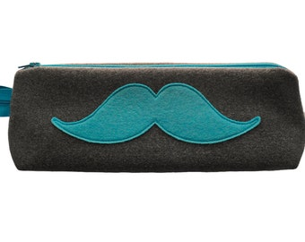 Moustache Pouch  pencil case  makeup bag  pencil pouch