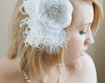 Bridal glamour flower, white on white feathered bridal fascinator, fancy white hair flower, communion accessory,ostrich feather fascinator
