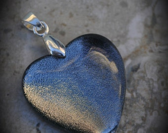 Heart Silver Plated Dichroic Fused Glass Pendant 6017