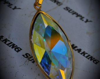 Genuine Gold Plated Swarovski Crystal Clear Ab Navette Pendant
