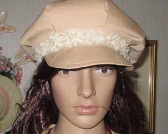 Khaki and Cream Rosettes Lace Newsboy Cap
