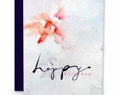 Happy Birthday Card : Greeting Card, Stationary, Watercolor card