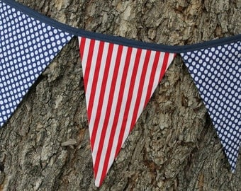 PATRIOTIC FABRIC GARLAND -- dots stripes pennant fabric flag banner -- nautical fabric bunting -- pennant garland -- party bunting -- 9 feet