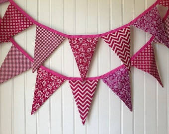 MAGENTA FABRIC GARLAND -- pennant fabric flag banner -- birthday fabric bunting -- summer pennant garland -- berry party bunting -- 9 feet