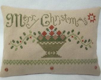Primitive Christmas Fruit Basket Cross Stitch Mini Pillow