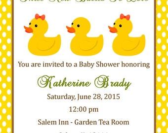 Triplet Baby Shower Invitation - (Digital File) / Duck Baby Shower Invitation / Triplet Shower Invitation / Yellow Baby Shower Invitation