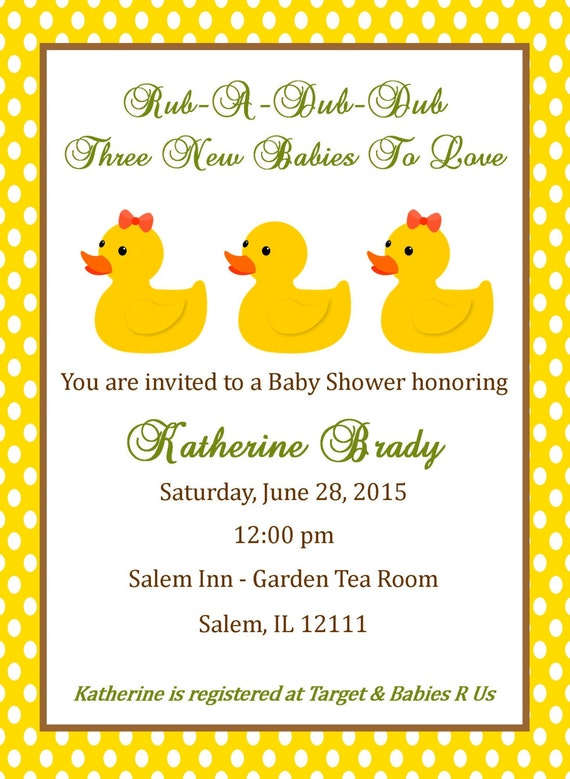 Triplet baby shower invitation digital file duck baby shower il570xn filmwisefo
