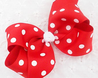 "SALE-Red Minnie Mouse Bow Hair Bow Red Polka Dot Bow Red White Polka Dot Bow Red Minnie Mouse Hair Clip Red Baby Bow-Medium 4"" Bow"