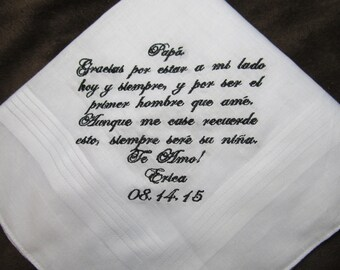 Father of the Bride - Spanish Version Wedding Handkerchief With Free Gift Envelope - Shown with Black Writing