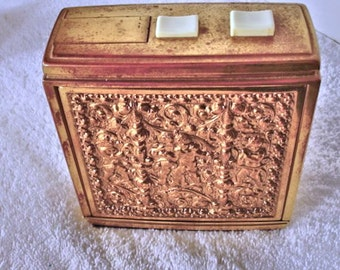 Vintage German Table Cigarette Dispenser Holder Match Holder With Striker With gold tone Metal with Cherubs Design