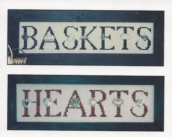 """Clearance - """"Charmed Sampler Baskets/Hearts"""" Counted Cross Stitch Chart by Hinzeit"""